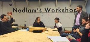 Equipe visitando o Nedlam's Workshop